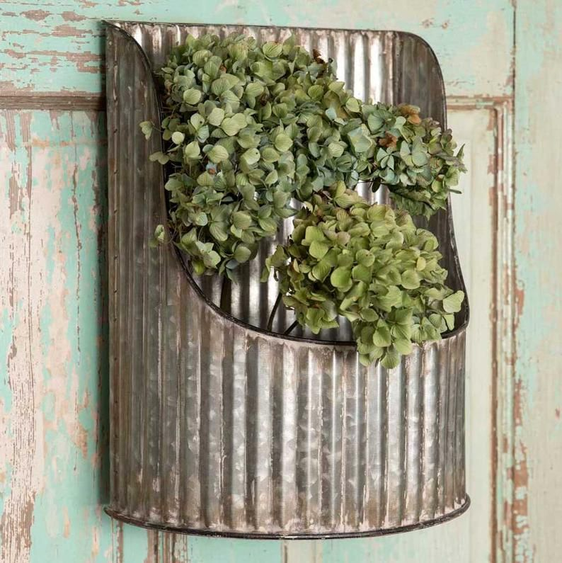 Metal Wall Planter Corrugated Half-Round Wall Bin