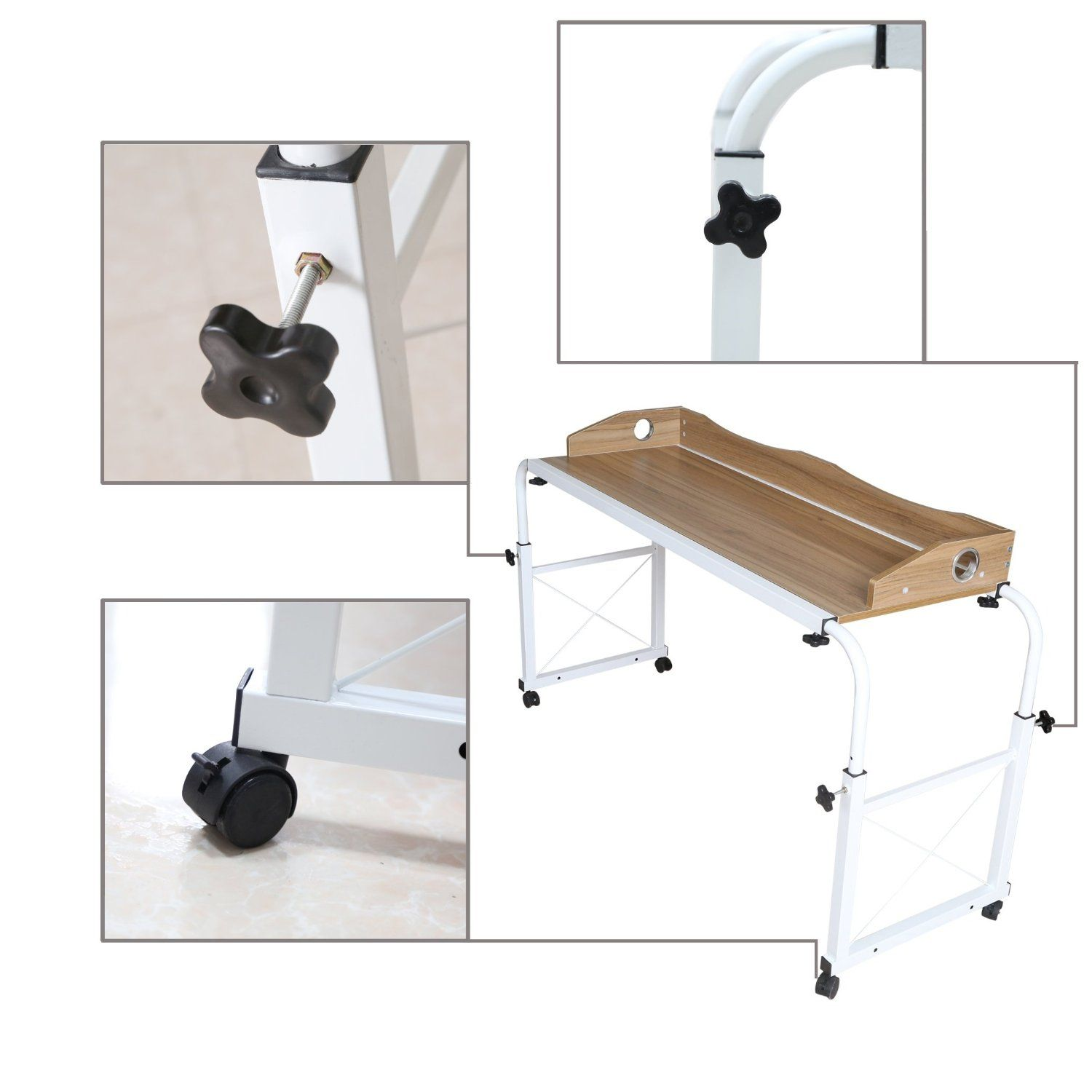 of wheels casters height table adjustable overbed with new side