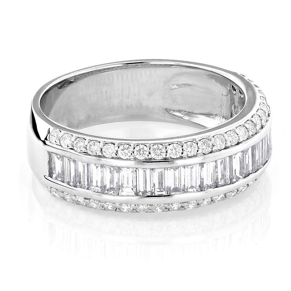 14K Gold Round Baguette Diamond Wedding Band 1.65ct