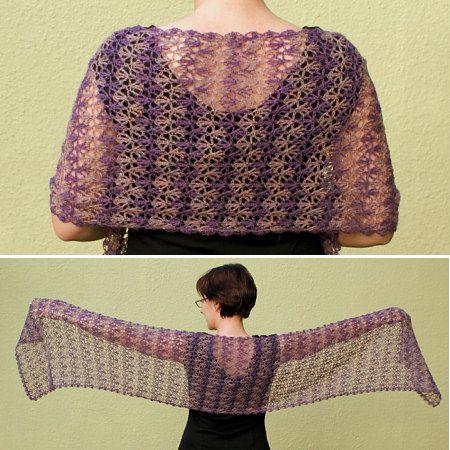 Rippled Lace Rectangular Shawl crochet pattern by June Gilbank