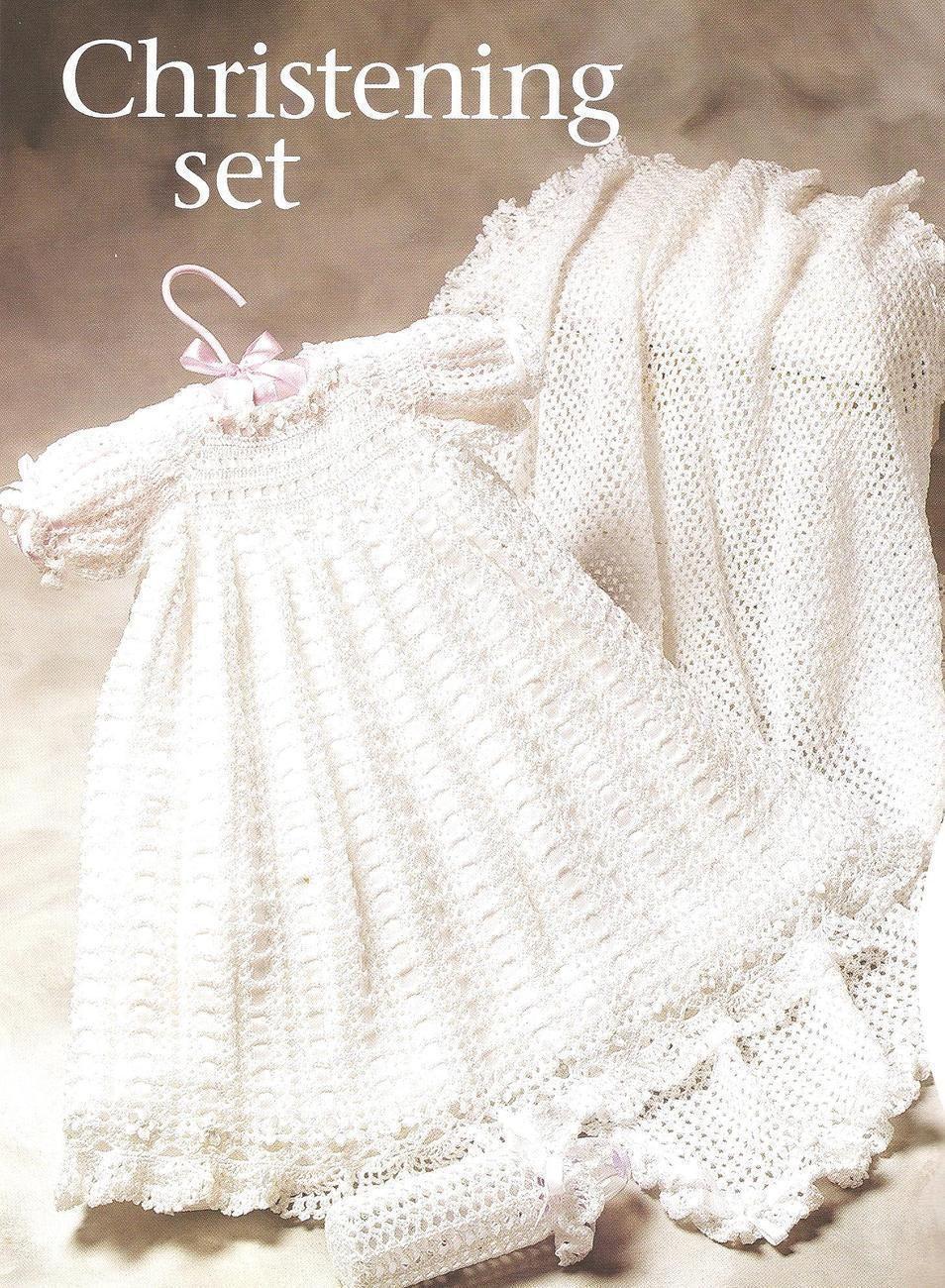 Rare~oop~christening gown crochet pattern~6 piece set | Taufkleider ...