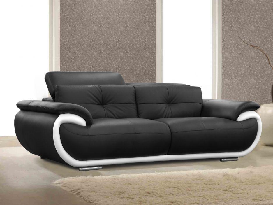 Canapé Places Cuir SMILEY Bicolore Noir Et Blanc Httpwww - Canape blanc 3 places design