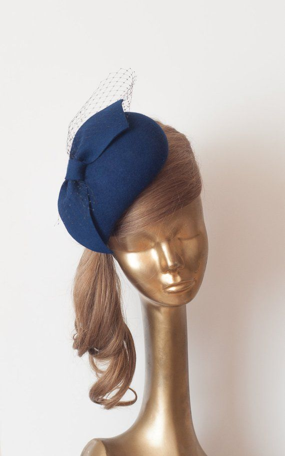 db576c318256e Unique Modern Navy Blue Felt FASCINATOR with Veil.Pillbox Hat
