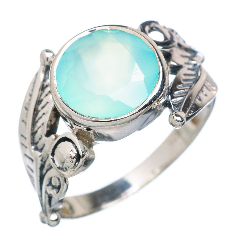Aqua Chalcedony 925 Sterling Silver Ring Size 9.25 RING719919