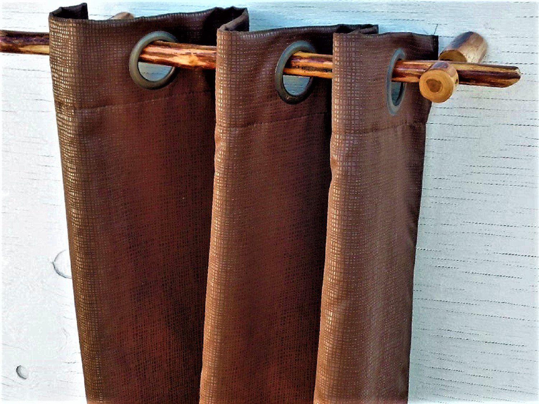 Rustic Wood Curtain Rod With Curtain Rod Brackets Farmhouse Decor