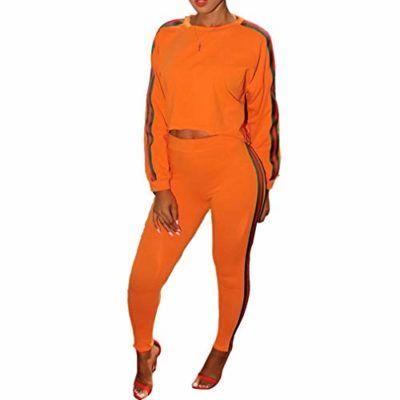 Hibote Conjunto de chándal Completo para Mujer 2PCS – Manga Larga Sudadera  + Pantalones Joggers Sports ba8408f94efd