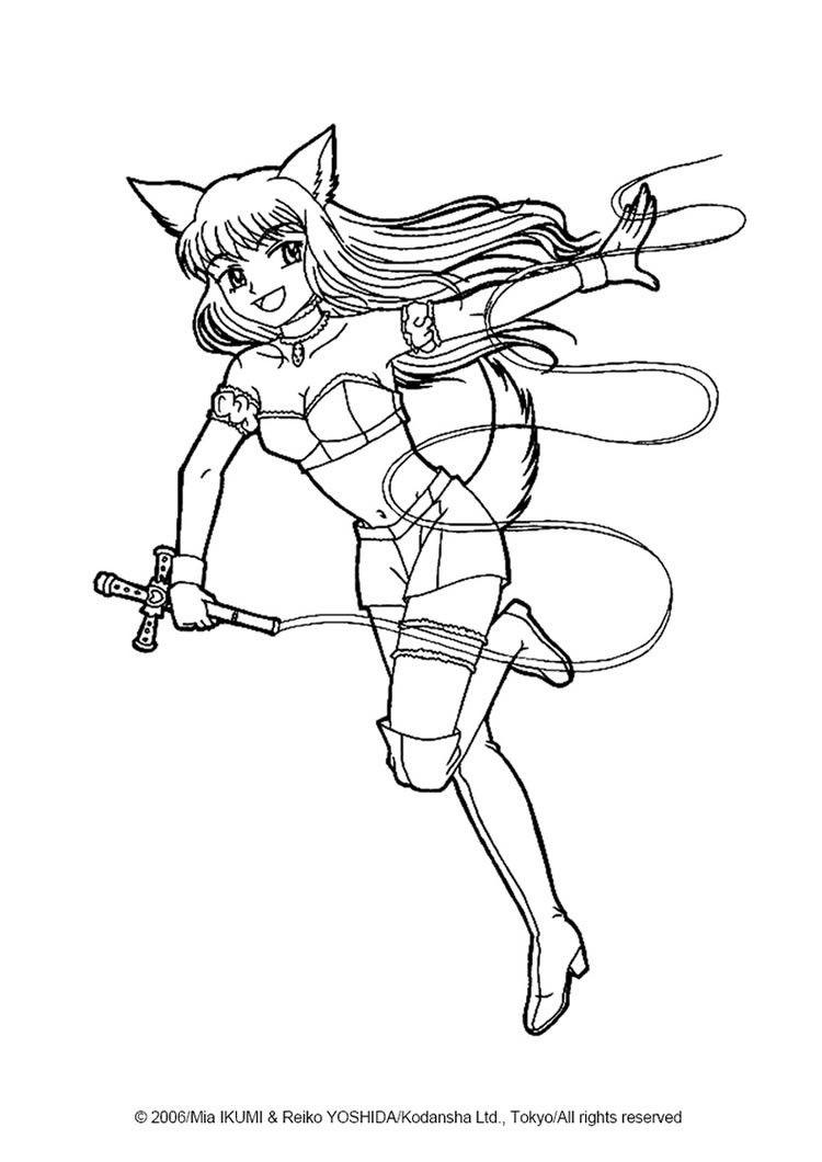 Fighting Zakuro Fujiwara Coloring Page More Tokyo Mew Mew