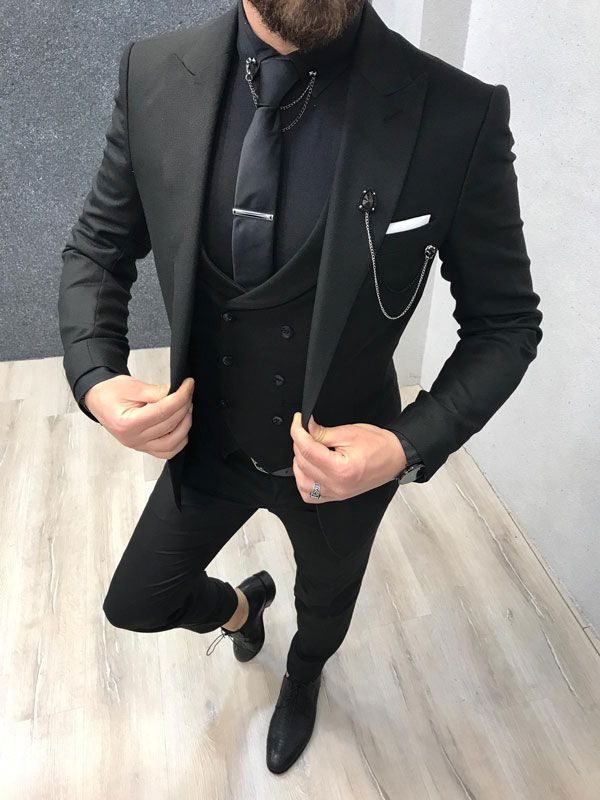 Vental Black Slim Fit Suit  GentWith
