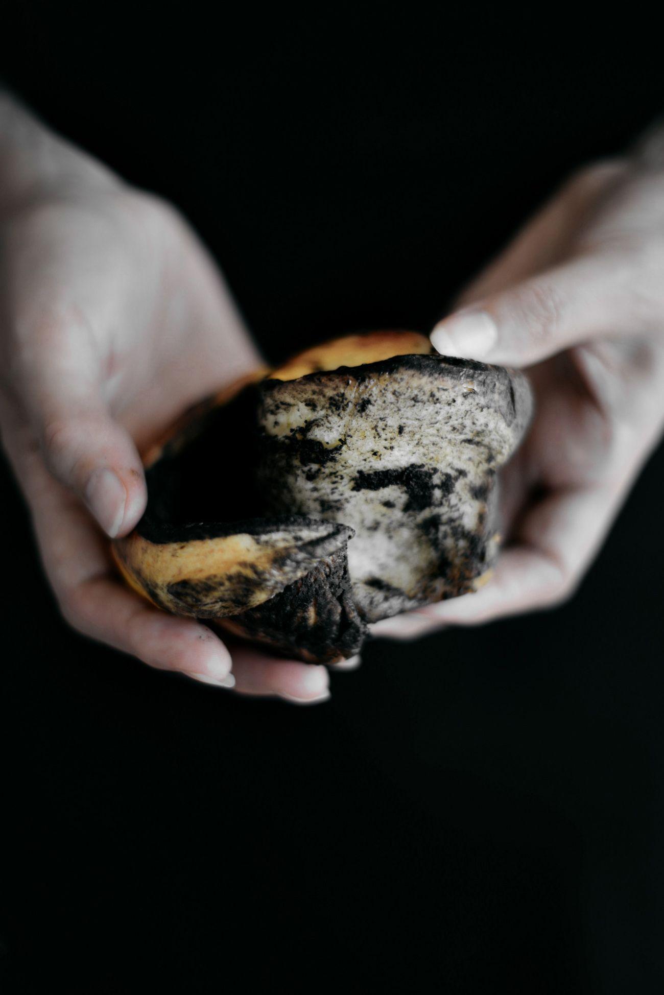 Black tahini buns with white chocolate and orange dark