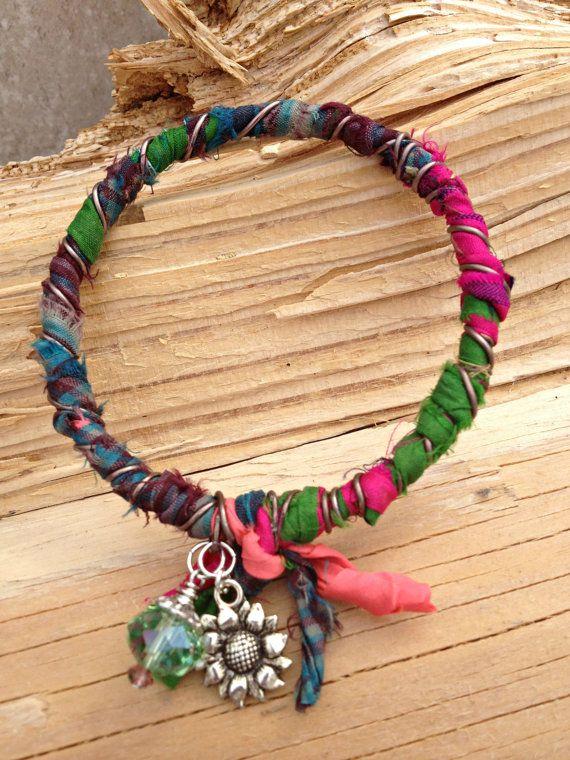 Recycled Sari Ribbon Wrapped Bangle Bracelet (Medium)