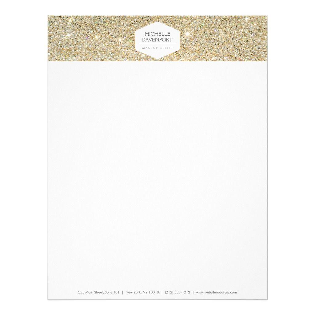 ELEGANT WHITE EMBLEM ON GOLD GLITTER Letterhead | Zazzle.com