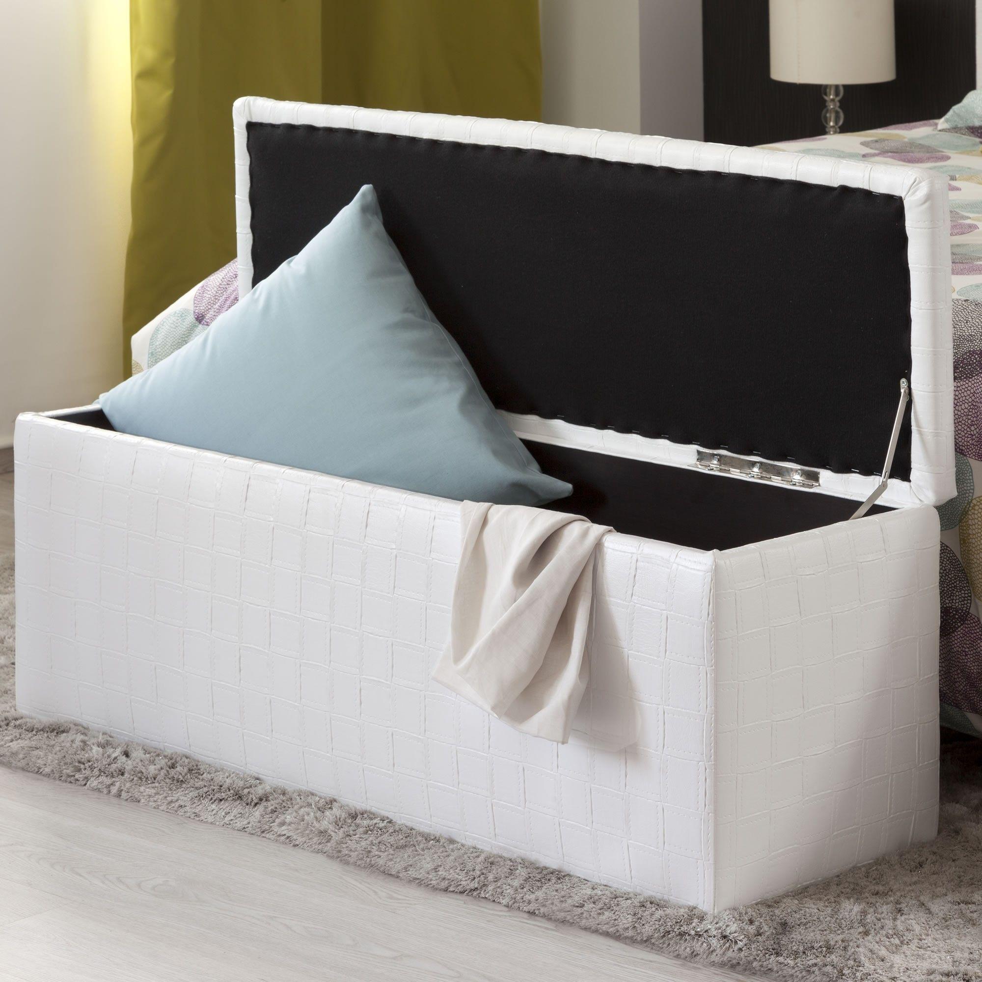 Pie De Cama Abatible Tapizado En Polipiel Blanco Medidas  # Muebles Pie De Cama