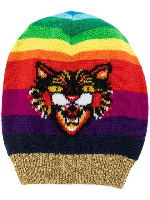 GUCCI Angry Cat motif beanie hat.  gucci    993f05b66b4f