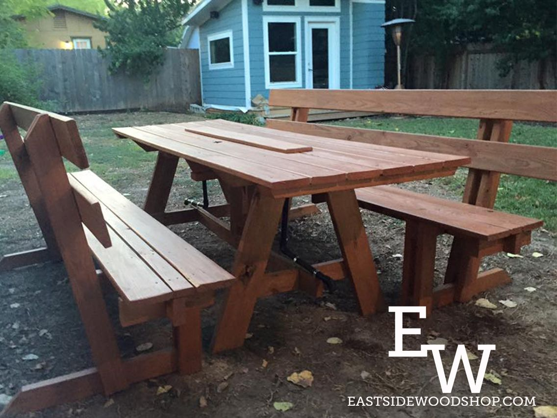 Stained Table Features Ice Trough With Drainage System And Pressure Treated  Lumber To Withstand The Harsh