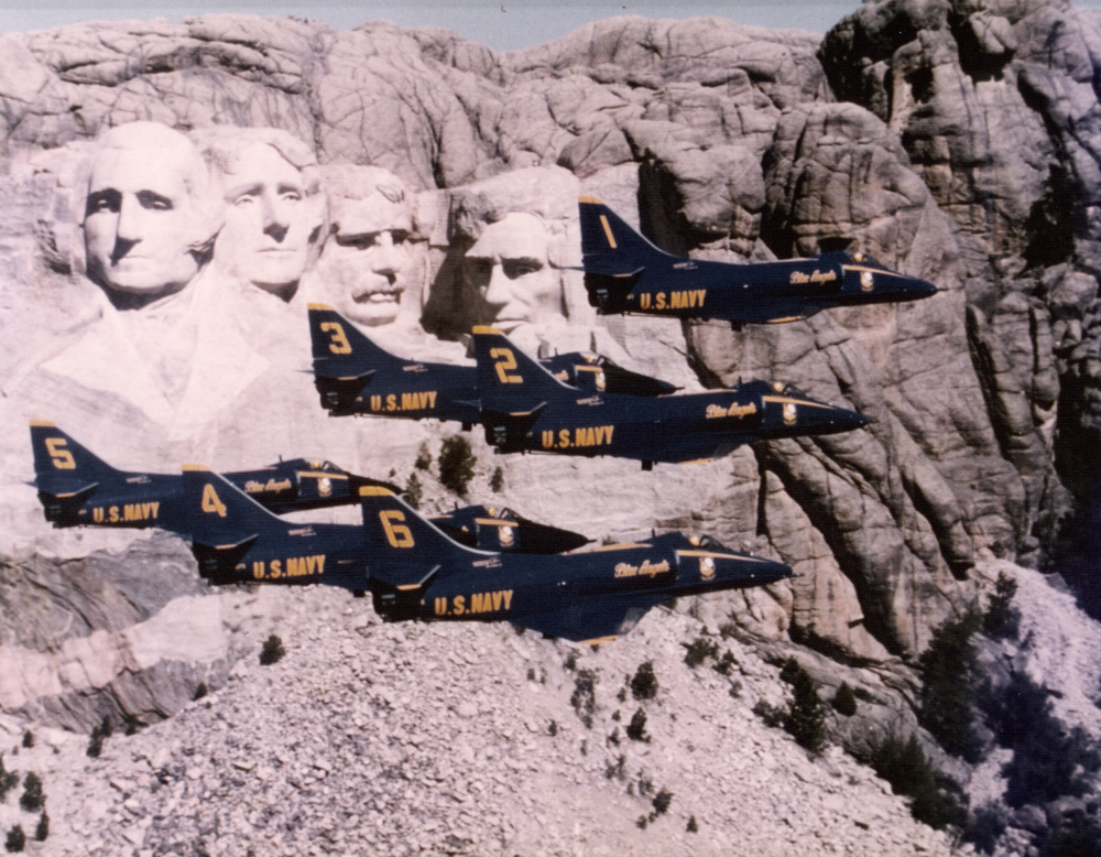 Blue Angels historical photo, 1976. (Mount Rushmore) in