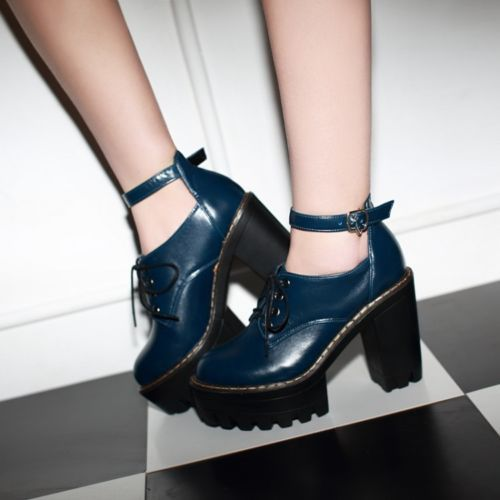 Women High Heel Block Chunky Platform Lace Up Creepers Pumps Ankle Boots Shoes