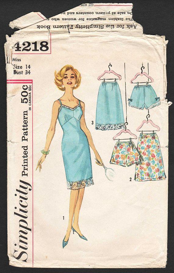 4e82c67f0886d Vintage 50s Lingerie Pattern Full Slip Pattern Half Slip Pattern ...