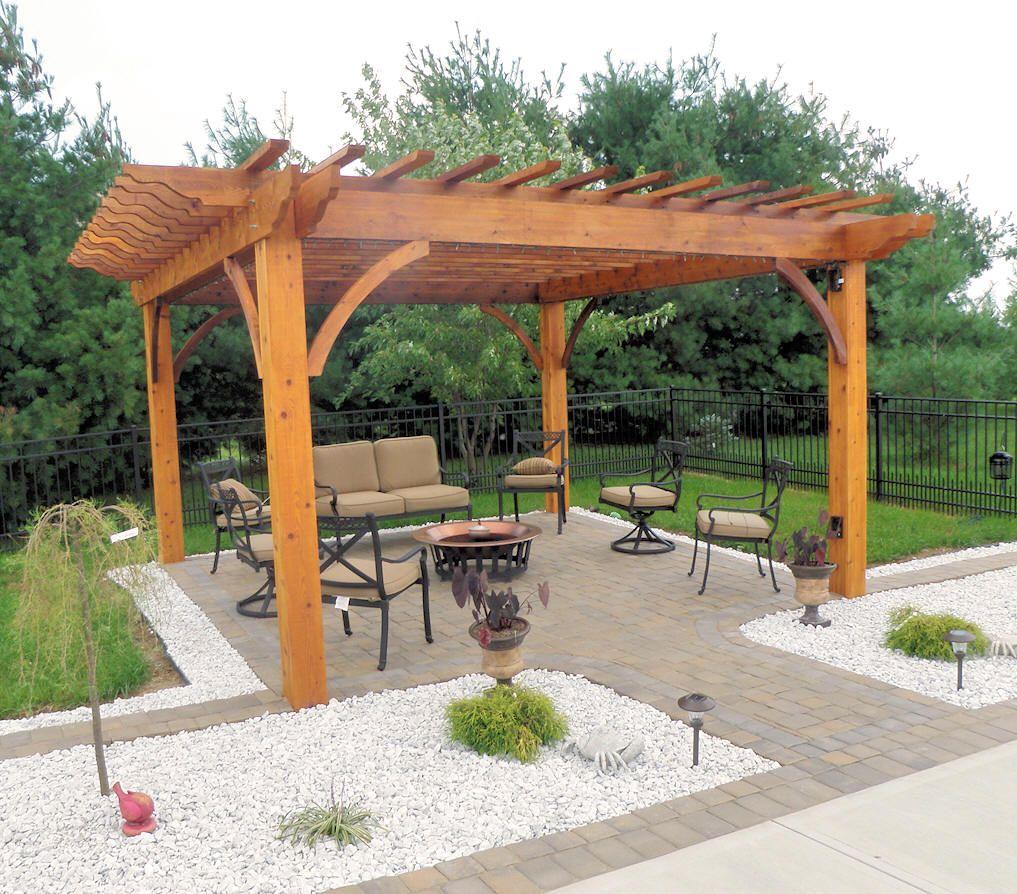 wood pergola plans | custom patio pergola cedar pergola with stone ... - Patio Pergola Ideas
