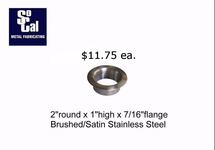 2 Dia X 1 Deep Stainless Steel Desk Grommet Socal Metal Fab Stainless Steel Countertops Steel Desk Grommets