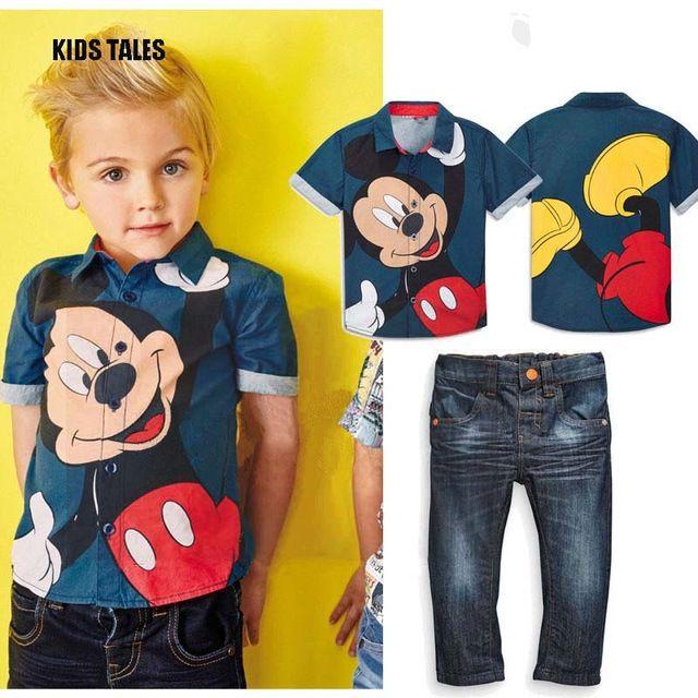 5e3422e2e Kids tales mickey denim conjuntos para bebés ropa de verano minnie mouse 2  unids chándal camisetas + jeans pantalón de tela conjunto garcon