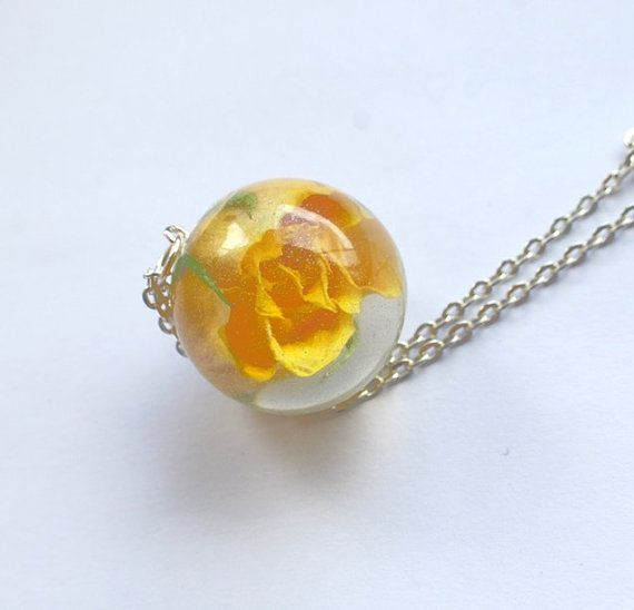 One true rose necklace 02 yellow rose resin jewelry real flower one true rose necklace 02 yellow rose resin jewelry real flower statement eternal love romantic gift specimen necklace globe ball mozeypictures Gallery