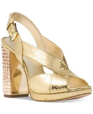 9e81f5d7559 Michael Michael Kors Becky Platform Sandals - Gold 6.5M