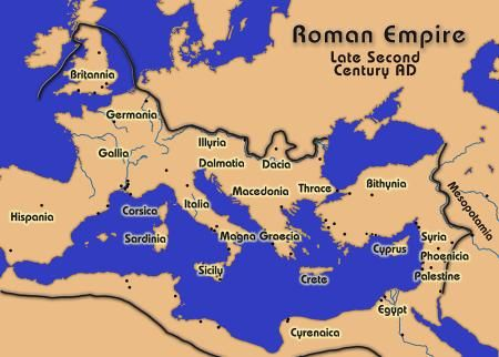 Here is a map of the Roman Empire toward the end of the second