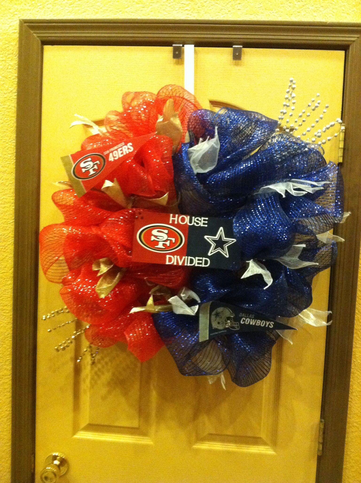 House divide wreath Half sf and half cowboys