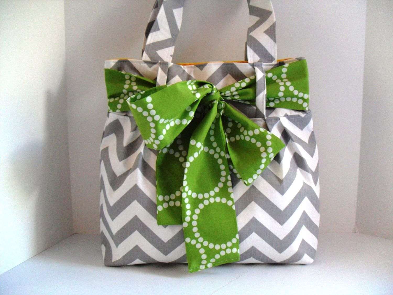 Handbag Made of Chevron  Fabric and Large Green Bow. $64.00, via Etsy.