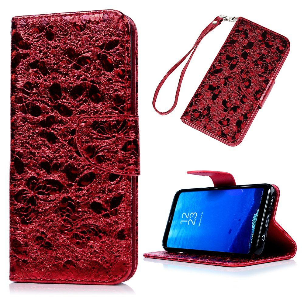 bb62df0a9f6a S8 Wallet Case, Luxury Shiny Bling 3D Relief Holographic Butterfly ...