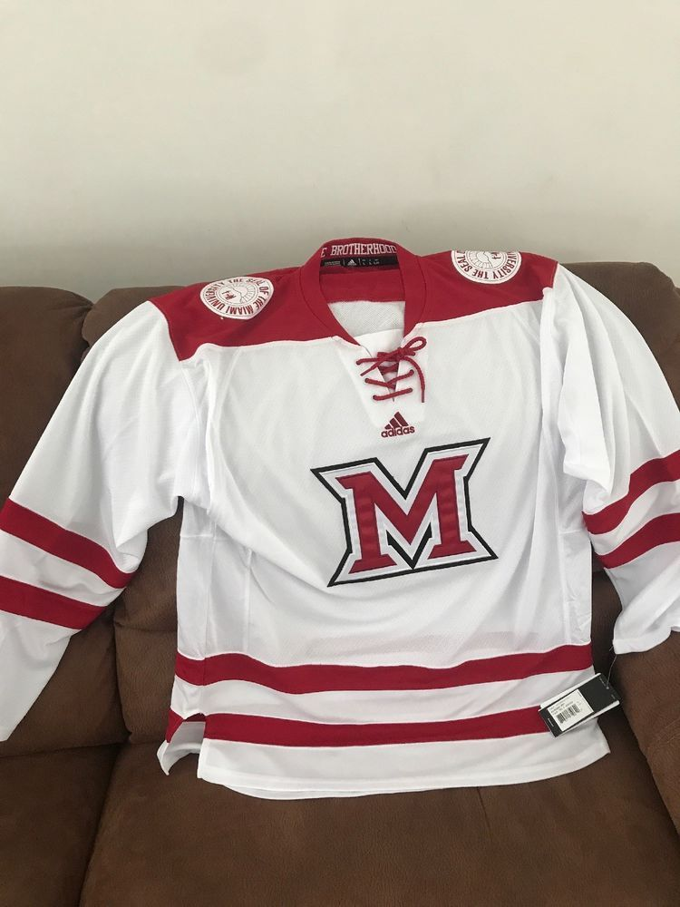 Adidas Miami University Redhawks Ohio Ncaa Hockey Jersey NWT Size Large Men   bfe24333e14