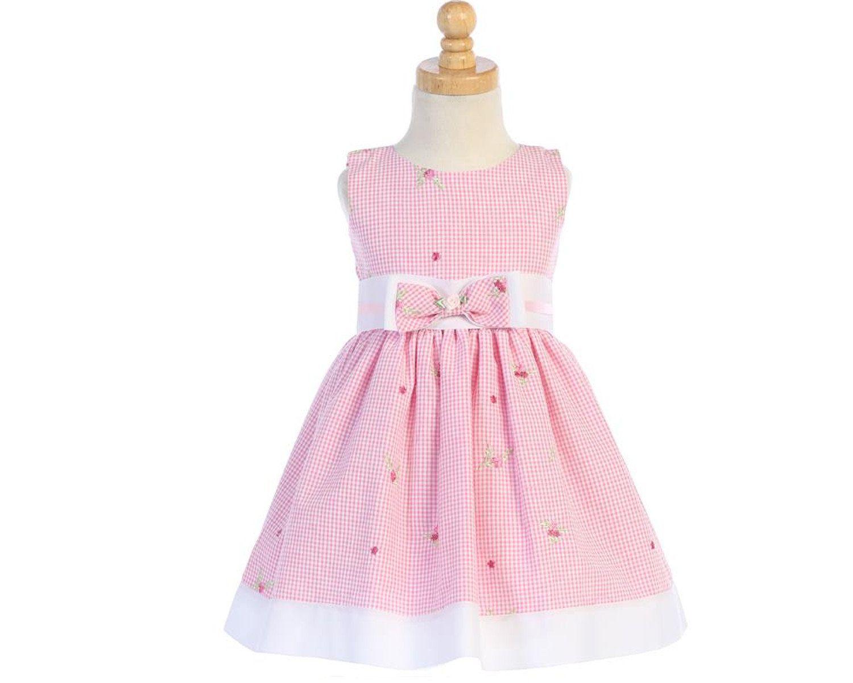 c604de080b2 Robe fille gaze de coton brodée fleurs couleurs pastel rose et vert ...