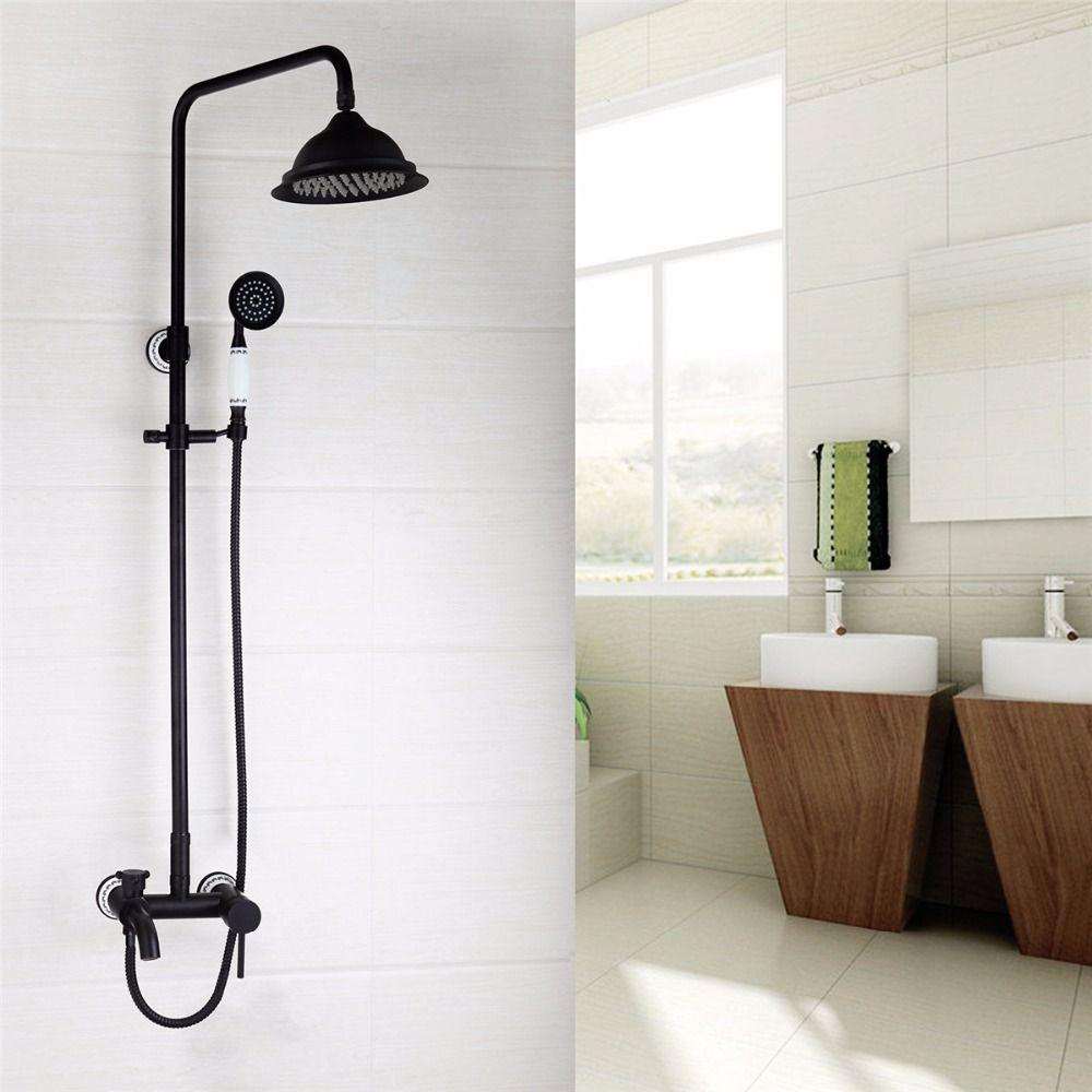 Superb Workmanship Oil Rubber Bronze Shower Faucet Wall Mounted
