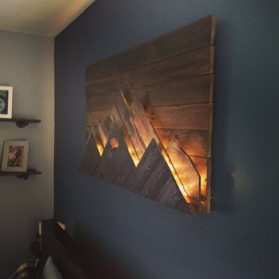 Wood Wall Art Wooden Mountain Range Made To Order Or Customize This Look Artwork Is Up Of Upcycled Ss
