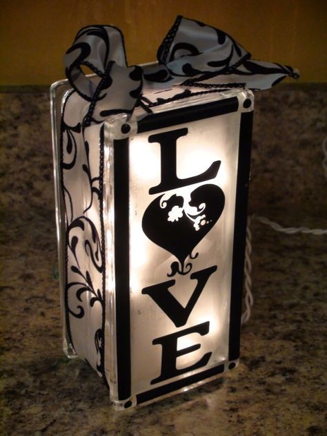 Made From A Frosted Glass Block Filled With Lights Found At Large Craft Stores Like Hobby Lobby And Deco Glass Block Crafts Lighted Glass Blocks Glass Crafts