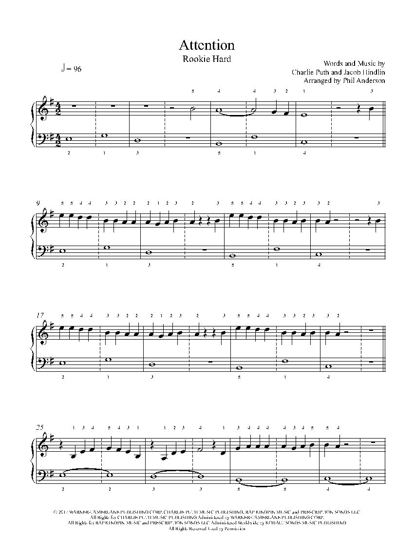 Attention By Charlie Puth Piano Sheet Music Rookie Level Piano Sheet Piano Sheet Music Clarinet Sheet Music