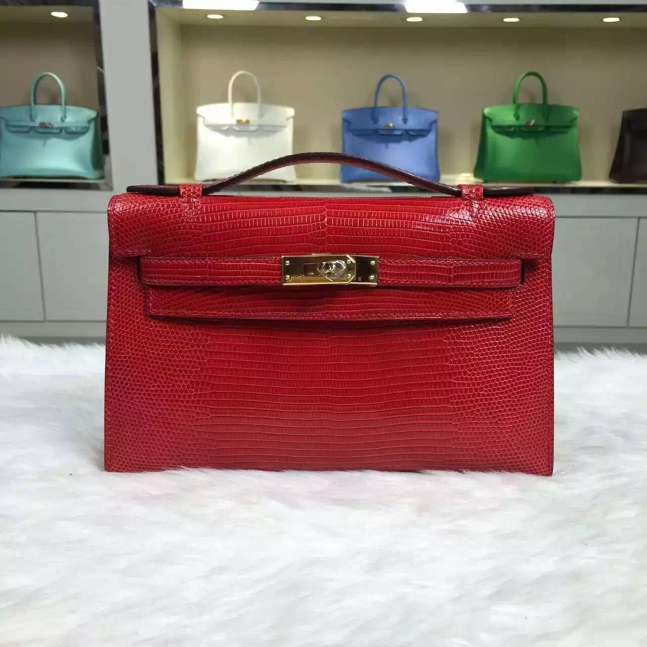 8b743eace4 Brand  Hermes  Style  Mini Kelly Pochette  Material  lizard skin leather Color   Chinese red  Size 22CM  Hardware  gold silver  Accessories  Padlock and  keys ...