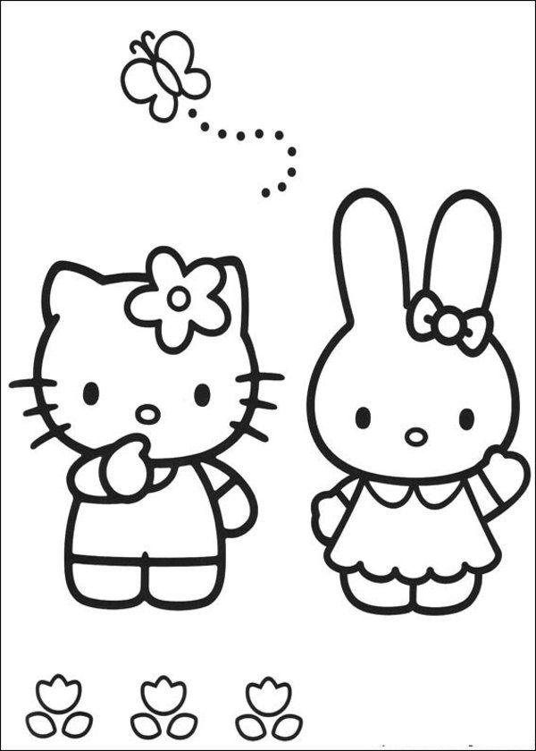 64 hello kitty coloring pages for applique | Clothes for the baby ...