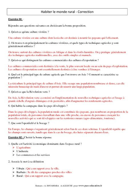 Habiter Le Monde Rural Exercices Corriges 6eme Geographie Pass Education Monde Rural Pass Education Geographie