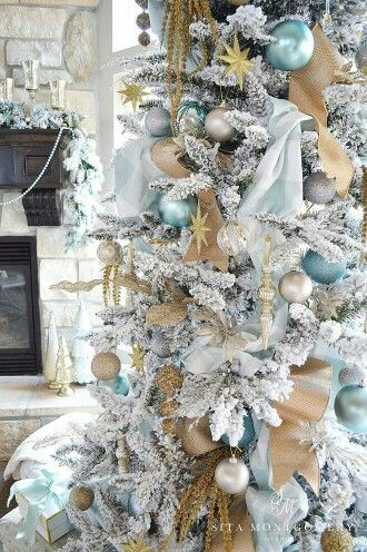 Ice Blue With Silver And Gold Blue Christmas Decor Turquoise Christmas Christmas Tree Themes