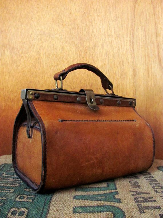 Vintage Cowhide SATCHEL BAG sculptural tan leather mini Doctor Bag ...