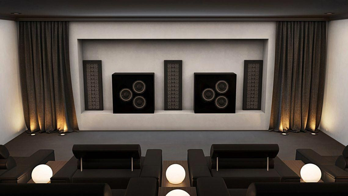 Home Cinema Speakers Installed In Void Behind Screen Home Theater Setup Design Your Dream House Home Theater Sound System