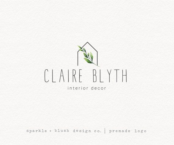 Premade photography interior decorator modern botanical tiny house cottage outline home decor logo  also rh in pinterest
