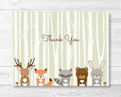 Woodland Forest Animals Folded Thank You Card Template  Fox Deer