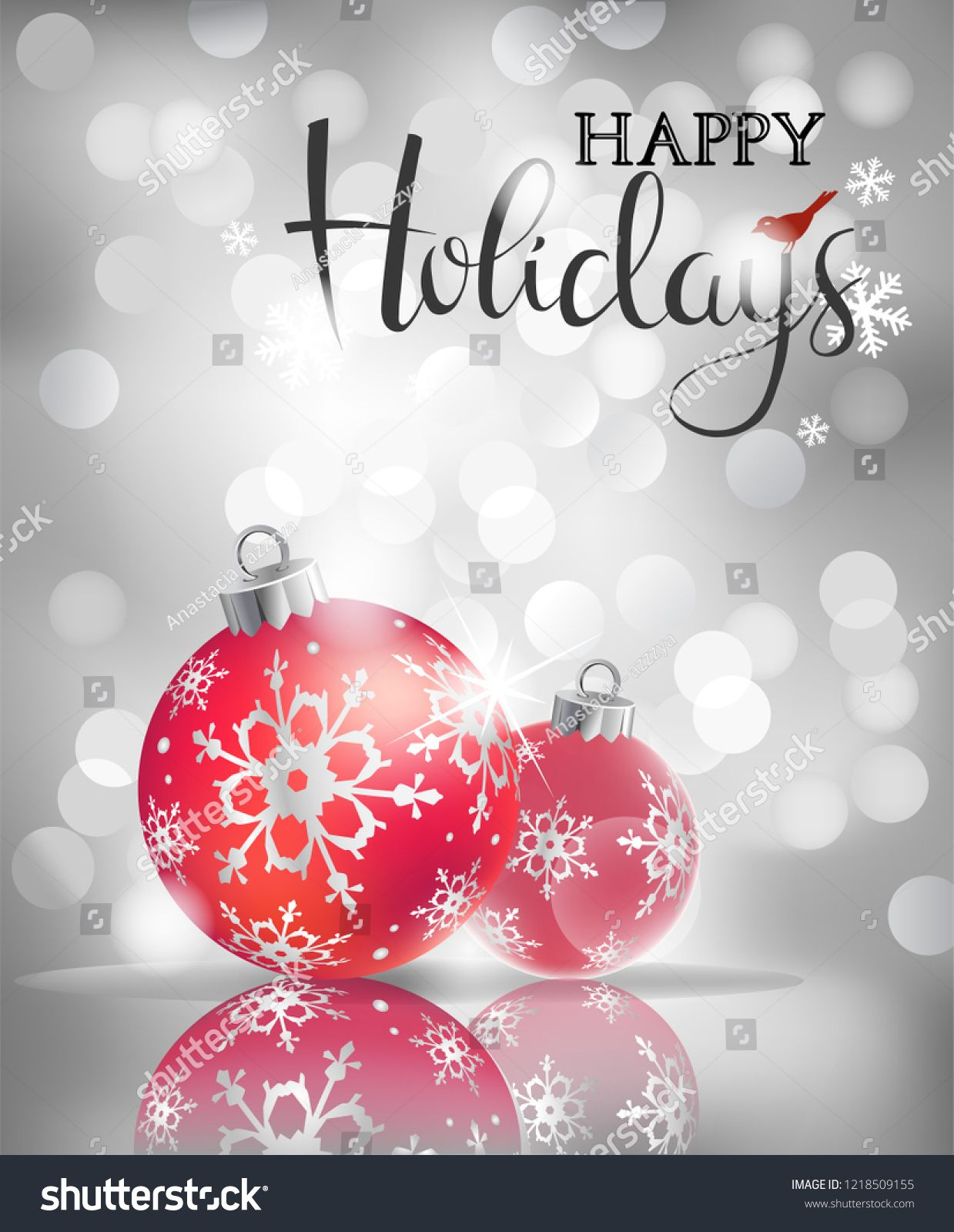 Happy Holidays Greeting Card Vector Holiday Balls On Abstract Silver Lights B Happy Holiday Greeting Cards Happy Holidays Greetings Happy Christmas Greetings
