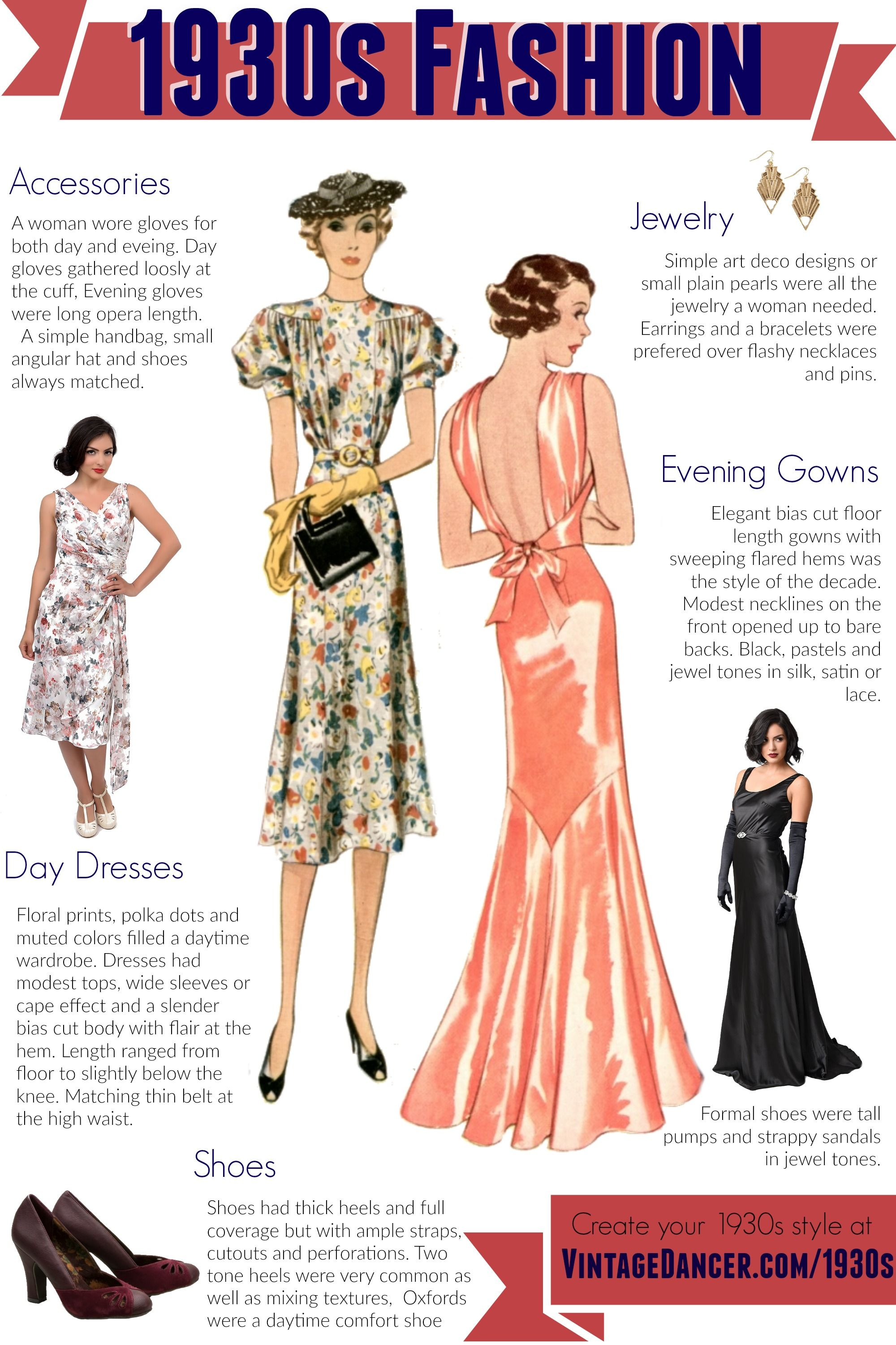 Fashion Dresses Accessories: 1930s Style Clothing, Shoes, Accessories For Sale