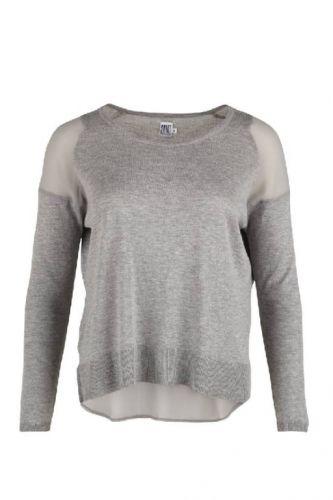 Saint Tropez strik og vævet sweater grå - Bluser/Strik - MaMilla