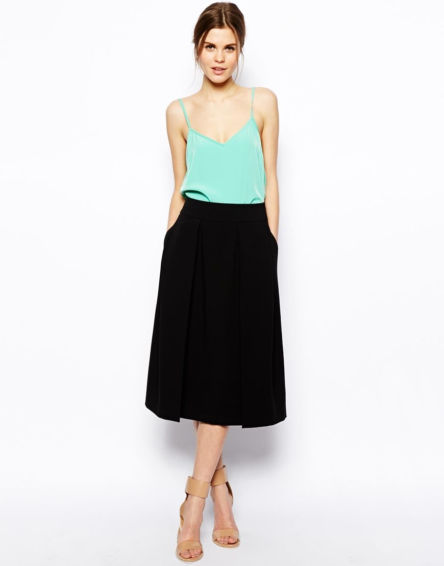 46fc166ff6 Image 1 of ASOS Midi Skirt With Box Pleat Splits | Fashion | Skirts ...