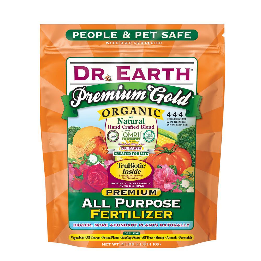 Dr Earth 4 Lb Organic Premium Gold All Purpose Fertilizer 706px The Home Depot Organic Plant Food Organic Nutrients Plant Nutrients