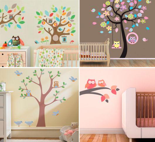 Coruja decoracao quarto bebe papel parede vinilos for Papel pared habitacion bebe